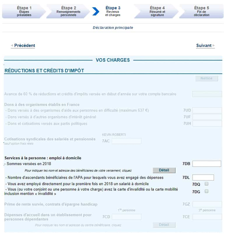 Formulaire déclaration crédit impôt service à la personne