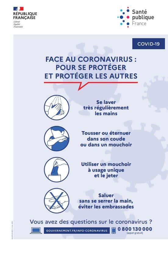 affiche de prévention contre le coronavirus